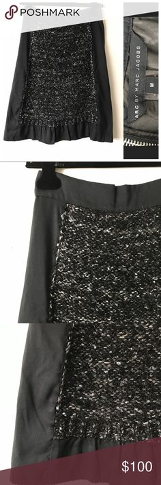 Marc By Marc Jacobs Boucle Panel Skirt size M Excellent Condition Marc By Marc Jacobs Metallic Boucle Panel skirt. Black skirt with charcoal silver metallic panel, ruffle hem and back zip. Smart and elegant with a street chic. Size M. Retail $395 Marc By Marc Jacobs Skirts Midi