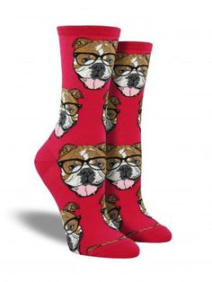 bulldogs wearing glasses fun novelty animal socks for women in pink