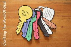 This craft will serve as a great evangelism tool. Each key represents an important part of the Gospel message and includes a lock with a wonderful promise from Christ. Instructions Print the templa...