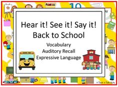 Teach daily classroom vocabulary with this seek & find activity.  Perfect Back to School lesson for collecting observational data for articulation, language, fluency.