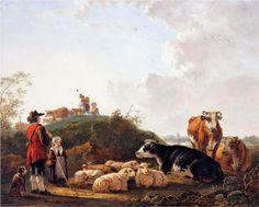 Herdsman with resting cattle - Jacob van Strij