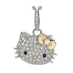 Beautiful Silver Hello Kitty Crystal Necklace with Clear Cubic Zirconia and 14K Gold Vermeil Bow, Teen Celebrity Pendant on Amazon