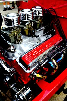 The legendary Small Block Chevy litre engine designed in 1955 by Ed Cole, at the time Chief Engineer of Chevrolet and later GM President, to provide a more powerful unit to the Corvette. Red Engine, Truck Engine, Chevy, Chevrolet, Volkswagen, Old Hot Rods, Toyota, Performance Engines, Automobile