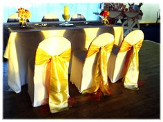 Wedding breakfast set up with champagne taffeta sashes.  Want your own quote? Then email me with your ideas! hello@beckiemelvinevents.co.uk  More styles can be seen at www.beckiemelvinevents.co.uk