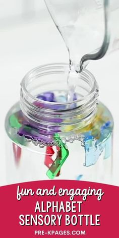 An easy alphabet sensory bottle you can make for your preschool or pre-k classroom. Make learning the letters of the alphabet fun! Kids Learning Activities, Alphabet Activities, Sensory Activities, Toddler Activities, Hands On Learning, Teaching The Alphabet, Alphabet Book, Alphabet Letters, Early Education