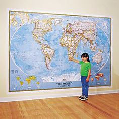 Crazy bang for your buck 74 for a 9x13 wall mural map national geographics world mural map blue ocean i want this maybe gumiabroncs Images