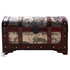 Nautical World Map Decorative Storage Steamer