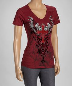 Another great find on #zulily! Wine Winged Cross Tee by Rebel Spirit #zulilyfinds