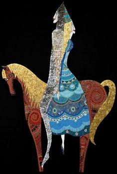 Journey, Mosaic by Irina Charny Mosaic Tile Art, Mosaic Diy, Mosaic Garden, Mosaic Glass, Mosaic Artwork, Mosaic Stepping Stones, Mosaic Portrait, Mosaic Madness, Terracota