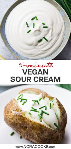 Vegan Sour Cream, made with 4 ingredients and 5 minutes. It's thick, creamy, tangy and the perfect substitute for dairy sour cream! Vegan Sauces, Vegan Foods, Vegan Dishes, Vegan Vegetarian, Vegan Raw, Paleo, Dairy Free Recipes, Vegan Recipes, Cooking Recipes