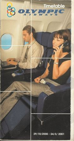 Olympic Airways system timetable 10/29/00 Vintage Airline, Vintage Travel, Vintage Ads, Vintage Posters, Olympic Airlines, Airplane Interior, Aristotle Onassis, Cabin Crew, Air Travel