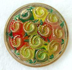 SALE LG Czech Glass Button - Rose Bouquet - Yellow & Orange Reverse Painted Floral Button