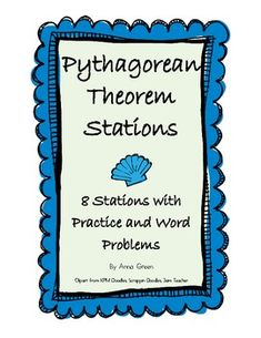Pythagorean Theorem Stations - Math Centers **Students start learning the Pythagorean Theorem in middle school so having activities in stations not only gives them practice, but it lets them move around and get some energy out.**