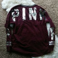 PINK VS varsity sweater Super cute still in very good condition size small but fits like a m all pink items run size up most of the time PINK Victoria's Secret Sweaters Crew & Scoop Necks