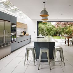 Use skylights and biofold doors to bring light into a modern grey and white kitchen. Take a look at housetohome.co.uk for other modern kitchen ideas