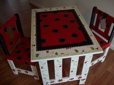 Ladybug table and chairs for playroom