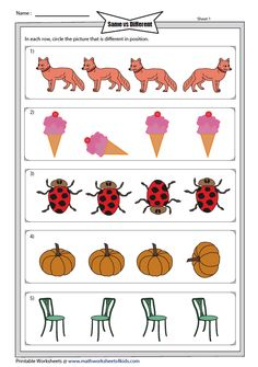 Odd One Out: Different Position Shape Worksheets For Preschool, Preschool Phonics, Preschool Workbooks, English Worksheets For Kids, Preschool Learning Activities, Kindergarten Lesson Plans, Kindergarten Worksheets, Visual Perception Activities, Prewriting Skills