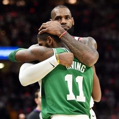 This was all I cared about on opening night. Respect. The #GOATS My favorite PG #KyrieIrving and my favorite player period #LeBronJames