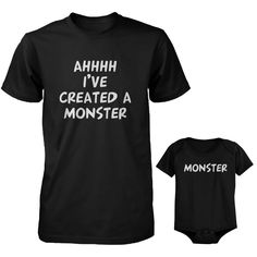"""Matching T-Shirt and Onesie Set. Daddy """"I've Created A Monster""""and Baby """"Monster"""". Check out our other Daddy and Baby matching outfits Becoming a father is the most precious and awesome thing that can happen to a man. Baby Shirts, Onesies, Baby Onesie, Baby Baby, Black Dad, New Dads, Baby Time, Cute Baby Clothes, Family Clothes"""