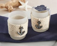 Rope Tealight Holder with Anchor (Set of Aspen-One if by land, two if by sea. You and this nautical favor are just meant to be! Designed by Kate Aspen, our Anchors Away Rope Tealight Holder add a charming touch as placeholders or party favo Glass Tea Light Holders, Tealight Candle Holders, Tea Light Candles, Tea Lights, Votive Candles, Nautical Favors, Nautical Theme, Nautical Rope, Nautical Design