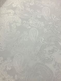 Paisley Jacquard Woven  White Fabric  - By Meter - 58  145cm Wide -