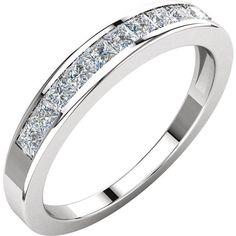 Channel Set Princess Cut Diamond Anniversary Band 14K White Gold .50 CTW
