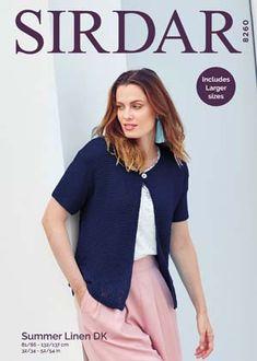 Sirdar 8260 Cardigan in Sirdar Summer Linen DK ( weight) for Adults. Pattern Code, Cardigan Pattern, Warm Weather, Knit Crochet, Crochet Patterns, Knitting, Lady, Crocheting, Summer