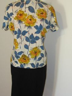 60's MOD Mad Men Betty Floral Print Wool Sweater that I sold.