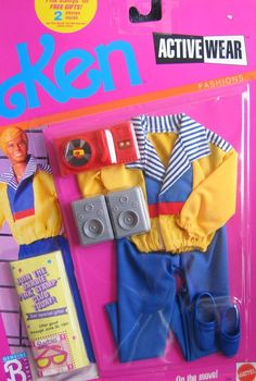 Amazon.com: Barbie KEN Active Wear Fashions On The Move! w Accessories (1989): Toys & Games