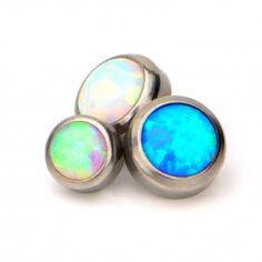 Titanium Bezel Set Synthetic Opal