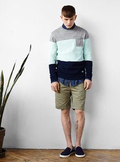 Djab Tricolored Block Weater & Solid Chino Bermudas. http://www.simons.ca/simons/category/c1599/The+Must-haves+this+summer?/en/#slide_1 #summer #menswear #basics