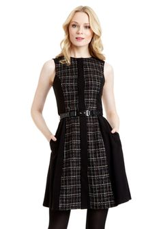 VINCE CAMUTO Plaid Panel Fit-and-Flare Dress