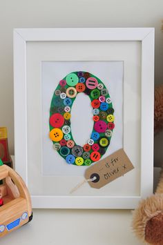 Personalised Monogram Button Letter Picture - Many colours available £15.00