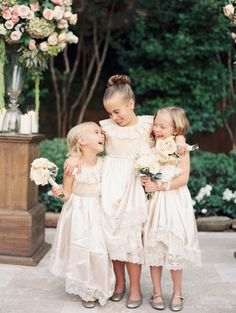 Flower girls in all ivory | Photography: Taylor Lord - www.taylorlordphotography.com/  Read More: http://www.stylemepretty.com/2014/05/27/romantic-houston-backyard-wedding/