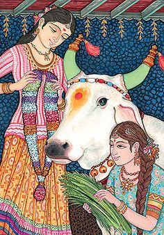"""In the religion of Hinduism, the animal called a """"cow"""" is thought to be sacred, or very holy. Most Hindus respect the cow for her gentle nature which represents the main teaching of Hinduism, non-injury (ahimsa). The cow also represents ghee and strength Cow Illustration, Hindu Worship, Happy Cow, Cow Painting, Indian Folk Art, Indian Art Paintings, Cow Art, Cute Cows, Hindu Art"""