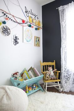 cute reading corner - love the lettering in the top corner!