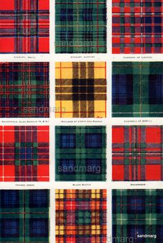 An incredible chart and double-sided too, this 1920 chart features the Tartans of Scottish Clans and regiments including: Stewart Dress Stewart Hunting