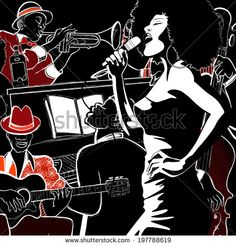 Illustration of Vector illustration of a Jazz band with double-bass - trumpet -piano vector art, clipart and stock vectors. Jazz Art, Jazz Music, Art Mini Toile, New York Christmas, Mini Canvas Art, Double Bass, Piano, Collage, Jazz Dance