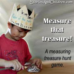 Check out this fun treasure hunt measuring game, shared by Susan of Stories and Children, that inspires children to learn the math of measuring in a meaningful way! B-InspiredMama.com