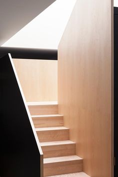 La SHED architecture_ La Maison Saint-Christophe Loft Stairs, Staircase Railings, Wooden Staircases, House Stairs, Stairways, Basement Stairs, Staircase Interior Design, Plywood Interior, Home Interior Design