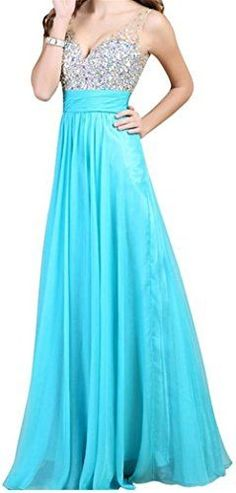 Endofjune Floorlength Gorgeous Chiffon Backless Beading Prom Party Dress US18 Sky Blue * Click for Special Deals  #PromDresses