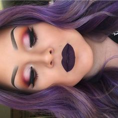 make-up eyes eyeshadow pink lips purple hair hair color purple hair by kathy Flawless Makeup, Gorgeous Makeup, Pretty Makeup, Love Makeup, Makeup Inspo, Skin Makeup, Purple Lipstick Makeup, Makeup Ideas, Plum Makeup