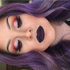 make-up, eyes, eyeshadow, pink, lips, purple, hair, hair color, purple hair