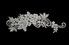 Off White Floral Venice Lace Applique Embroidered Bridal Guipure Patch 2pcs * More info could be found at the image url.