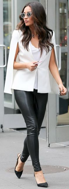White blazer cape + back lather pants | Shay Mitchell