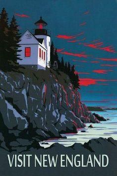 Visit New England Ocean Landscape Travel Tourism Vintage Poster Featuring Acadia National Park