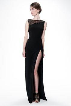 Sequin and Jersey Side Slit Gown in Black - Evening Gowns - Evening Shop Black Prom Dresses, Dressy Dresses, Tadashi Shoji, Classy And Fabulous, Fancy Dress, Passion For Fashion, Evening Dresses, Frank Ocean, Glamour