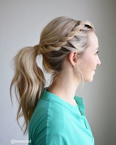 Rope braid into a wrapped ponytail!