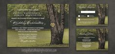 Country rustic carved oak tree wedding invitations set.