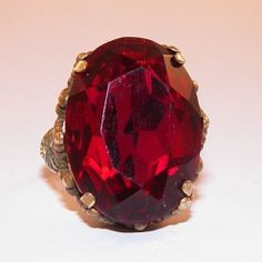 Vintage Czech Faceted Ruby Glass Adjustable Ring